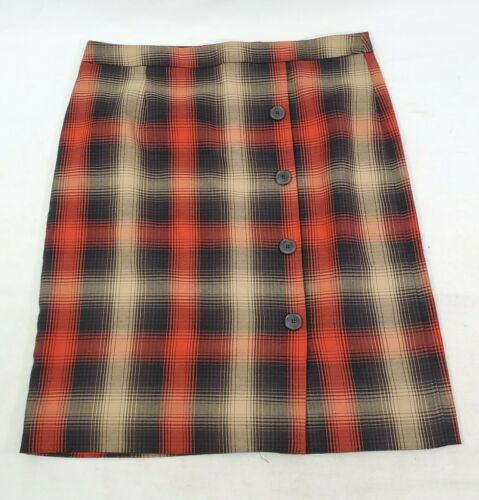 1970s Smiley/'s Trolley cream Knee length.l Blue pleated skirt wool blend plaid beige red
