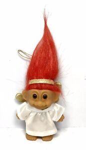 Vintage-Russ-Troll-Doll-Ornament-CHRISTMAS-ANGEL-3-034-Red-Hair-18277