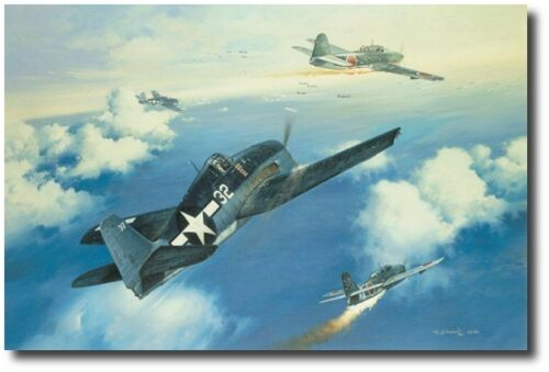 "/""Marianas Turkey Shoot/"" by Roy Grinnell signed by WW II Ace Lt Alex Vraciu"