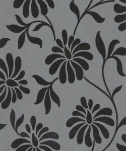 Details About Graham Brown Charcoal Black Flower Flock Velvet Wallpaper 19908