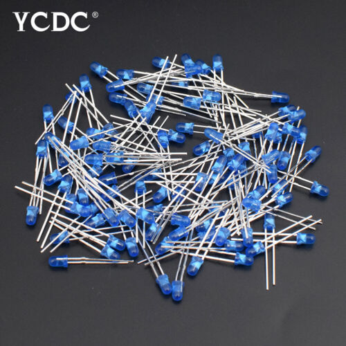 100X 3MM ASSORTED COLOR DIFFUSED LED LIGHT EMITTING DIODES PACK LONG LIFE 20MA