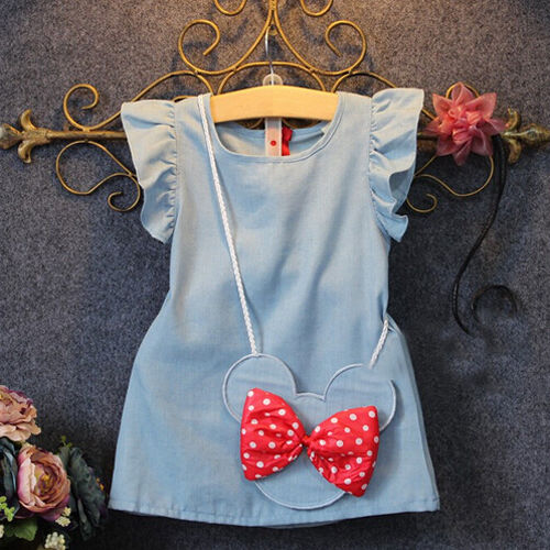 Fashion Kids Baby Girl Dress Mouse Bag Denim Party Dresses Sundress Clothes 2018