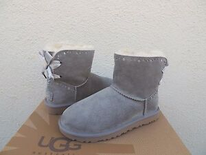 a9626ffc68d Details about UGG GREY DIXI FLORA PERF MINI BAILEY BOW SHEEPSKIN BOOTS, US  11/ EUR 42 ~NIB