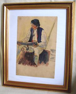 Gemaelde-Aquarell-Mann-mit-Pfeife-signiert-um-1915