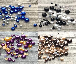Mixed-Flat-Back-Pearls-Rhinestones-Embellishments-Face-Gems-Craft-Card-Making-UK