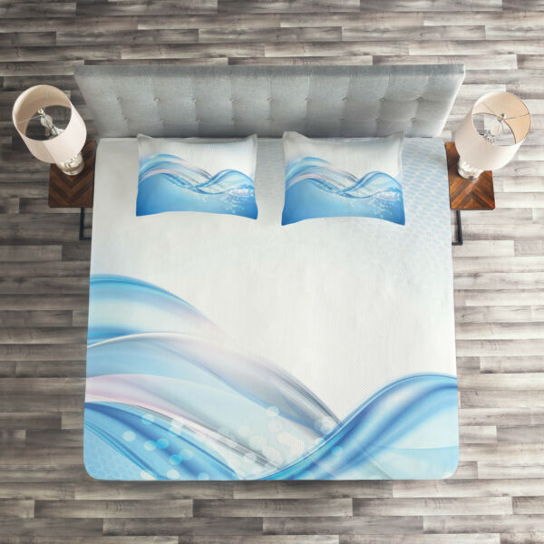 100% Kwaliteit Abstract Quilted Coverlet & Pillow Shams Set, Modern Wavy Surfer Print