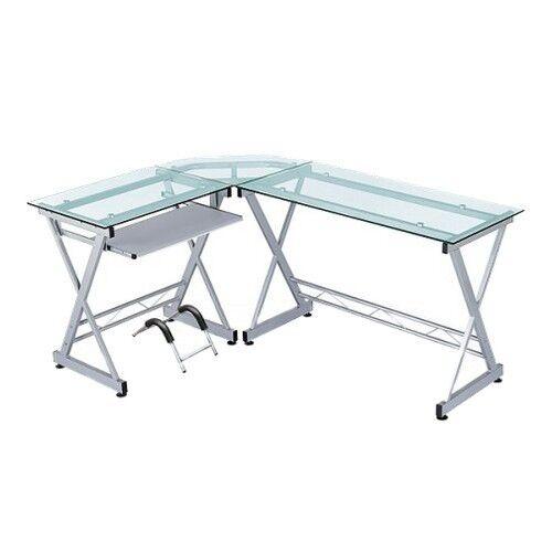 Techni Mobili L-Shaped Computer Desk - Silver/Clear