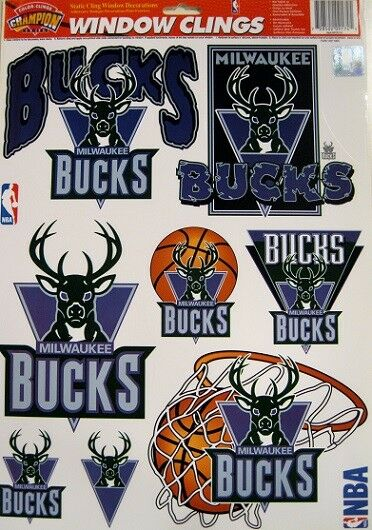 Milwaukee Bucks NBA Basketball 11 x 17 Muliple Window Clings by Color Cling