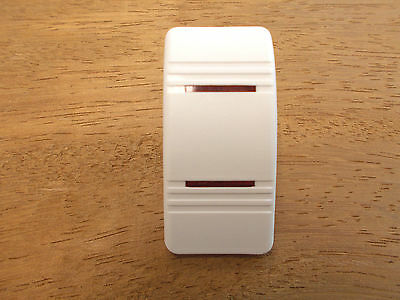 Euro Rocker White Switch Cover with 1 Red Lens Fits Carling Technologies Bl...
