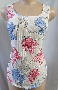 """ANN TAYLOR"" IVORY FLORAL PINTUCK FRONT CASUAL CAREER KNIT BLOUSE TOP SZ: LP NW"