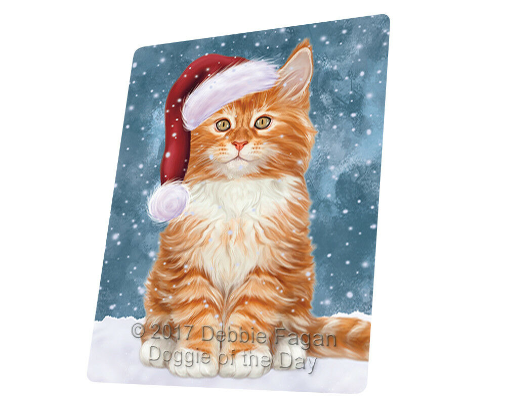 Let it Snow Christmas Holiday Tabby Cat Woven Throw Sherpa Blanket T262