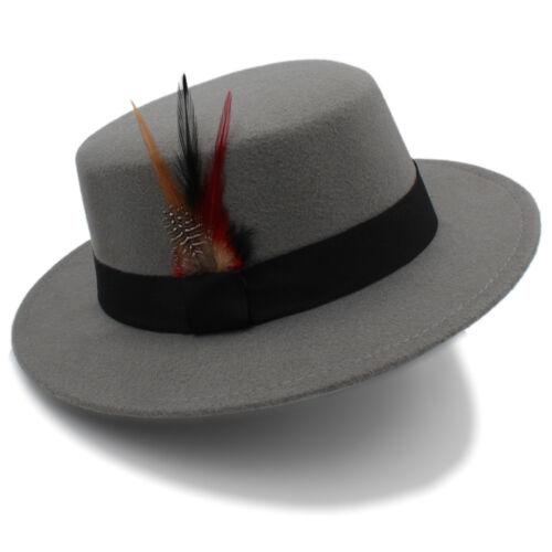 Fashion Wool Women Men Flat Fedora Hat Lady Top Cloche Boater Jazz Cap