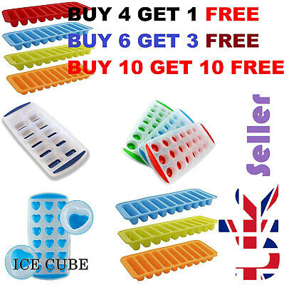 Royaume-Uni New Hot Ice Cube Tray Easy Pop out Maker Plastique Silicone Top Moule 21 Jelly