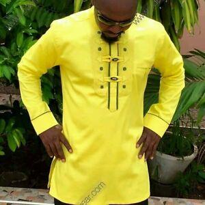 Odeneho Wear Menu0026#39;s Polished Cotton Top/Ankara U0026 Embroidery. African Clothing. | EBay