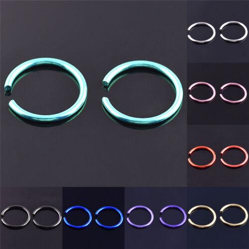 40Pcs Colorful Stainless Steel Nose Rings Piercing Lip Hoop Piercing Jewelry O1