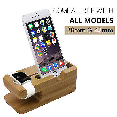 New Bamboo Charging Docking Station Charger Stand Holder For Apple Watch iPhone