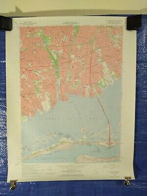 """22/"""" X 27/"""" New York State Quadrangle Topographical Map of Patchogue 1967 M-4"""
