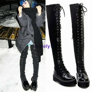 4338e822cfc Details about 2019 Womens Lace Up Straps Thigh High Punk Boots Over The  Knee High Long Booties