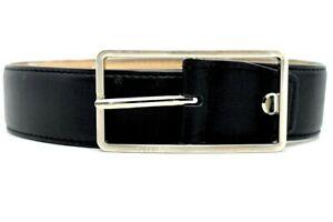 Aigner Classic Mens Leather Belt Black Size 34