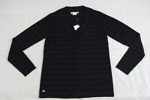 Af4442 Sort 100 Blå Lacoste Stripet Uld 0 Merino Sz Bnwt Sweater Autentisk wzqA5UvA
