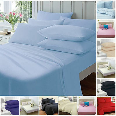 PLAIN DYED FITTED SHEET  50//50 POLY COTTON ALL UK STANDARD SIZES AND COLOURS