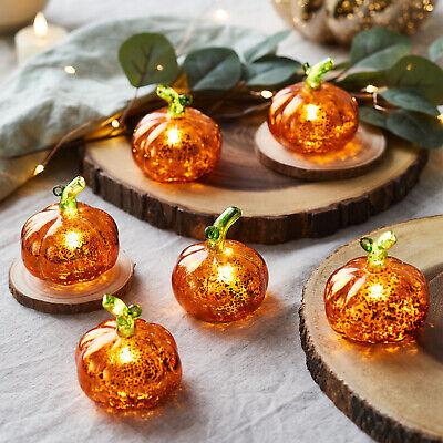 6er Set Led Kurbis Glas Herbst Halloween Deko Batterie Innen Timer Lights4fun 5056106718542 Ebay