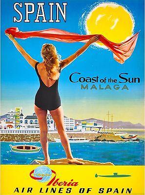 Malaga Spain Spanish Riviera Seashore Vintage Travel Advertisement Poster Print