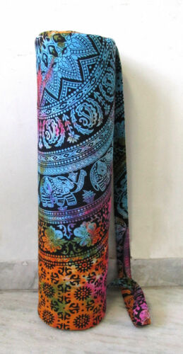 Indian Multi Elephant Mandala Gym Bags Yoga Mat Carrier Bag With Shoulder Strap