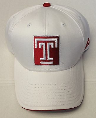 pretty nice 6d2b8 7547c NCAA Temple Owls Adidas Adjustable Structured Velcroback White Cap Hat OSFA  NEW!