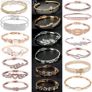 Bracelet Doré Plaqué Gourmette Poignet Coeur Bijoux Cristal Femme Manchette Chic