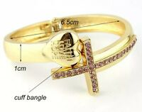 Arm Candy Crystal Rhinestone Sideways Cross Heart Bangle Bracelet Gold Cuff