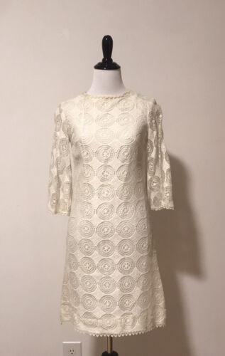 Vintage 1960s mini crochet wedding cocktail dress