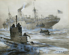WWI German U Boat Submarine Rescuing Passengers Painting Real Canvas Art Print
