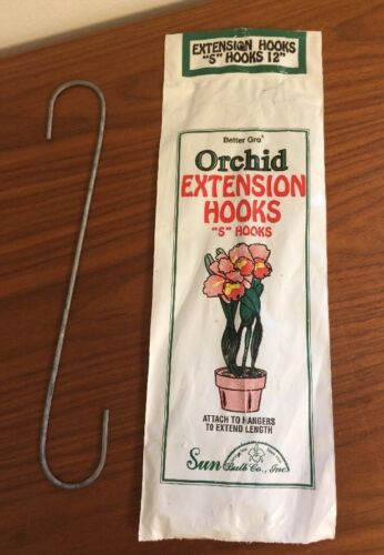 """New Vintage Old Stock Better Gro Orchid Extension /""""S/"""" Hooks 3 In Package 12/"""""""