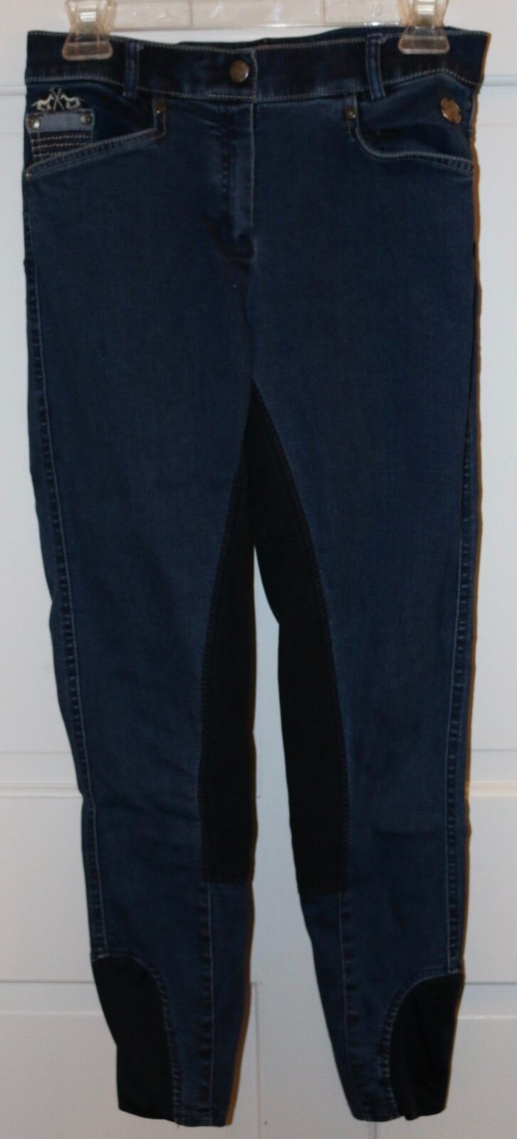 HV Polo European FULL SEAT BREECHES bluee Jeans Denim Size 26 26R Dressage EUC