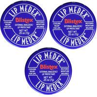 Blistex Lip Medex Cooling Relief For Sore Lips & Moisture 0.25 Oz Each (3 Jars) on sale