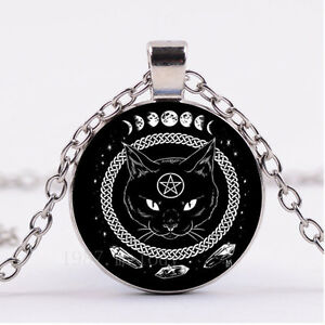 New cabochon glass necklace silver woman pendantsblack cat image is loading new cabochon glass necklace silver woman pendants black aloadofball Gallery