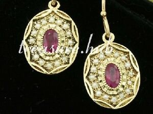CE042-EXQUISITE-Genuine-9ct-Yellow-Gold-NATURAL-RUBY-amp-PEARL-Oval-Drop-Earrings