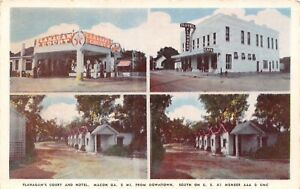 Macon-Georgia-Flanagan-039-s-Court-amp-Motel-Cabins-Texaco-Gas-Station-1950-Postcard