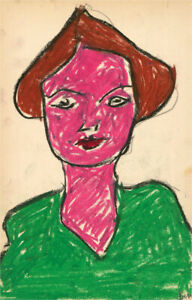 Ben Carrivick - Contemporary Pastel, Figure in Pink and Green