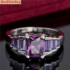 Exquisite 7 Stone Purple Emerald Cut Amethyst 925 Silver Ring Stamped Size 7 - N
