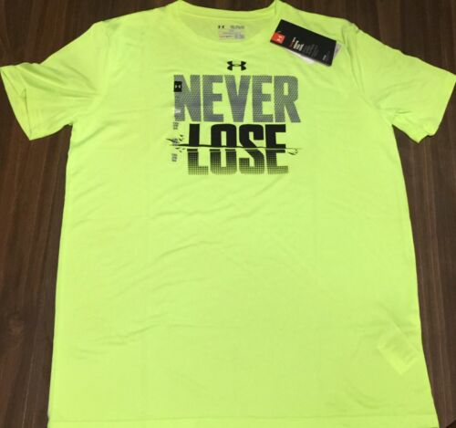 NWT Boys Under Armour XL Neon Yellow//Black//Gray NEVER LOSE Shirt YXL