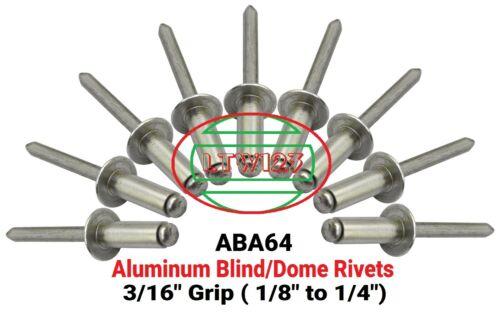 "100 3//16/' to 1//4/"" ABA64 Aluminum Rivets 3//16 x Grip"