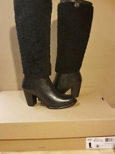 fb90732765 Details about UGG Australia AVA Exposed Fur Black leather women's tall  boots size 7.5US