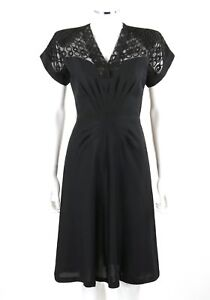71e404ac096 Vtg COUTURE c.1940 s Black Rayon Crepe Embroidered Illusion Top ...
