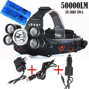 50000LM 5Head XM-L T6 LED 18650 Micro USB Headlamp Headlight Charger+Battery