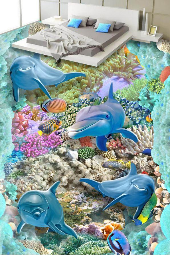 3D fish sea water 5257 Floor WallPaper Murals Wall Print Decal 5D AJ WALLPAPER