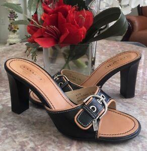 2750e871bf68 NEW COACH DARYN A8172 Black Leather Sandal Slides Heels Size 6.5B ...