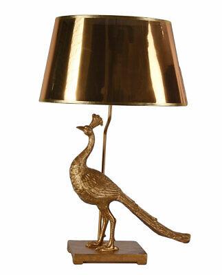 Tischleuchte Pfau Gold Nachttischlampe Figur Leuchte Vogelfigur Tischlampe 72cm