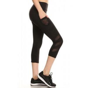 Womens Sports Capri Leggings With Side Pockets And Mesh
